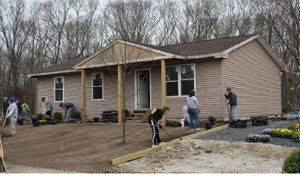 A Habitat house under construction