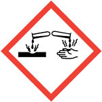GHS corrosion pictogram of acid pouring on hands and objects